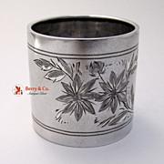 Bright Cut Napkin Ring Gorham Sterling Silver Hazel to Mama 1888