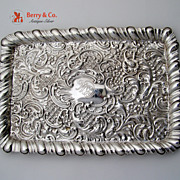 Ornate Repousse Rectangular Tray Sterling Silver Birmingham 1901