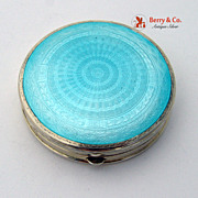 SOLD Art Deco Blue Guilloche Enamel Compact Gilt Sterling Silver Foster Bailey 1930
