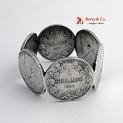 South African Shilling Coin Silver Napkin Ring Antique 1897 6 Coins