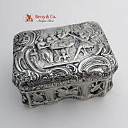 Antique Box Figural Musicians 800 Solid Silver 1890