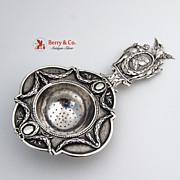 Elaborate Ornate 800 Silver 19th Century Hanau Imperial Tea Strainer Germany