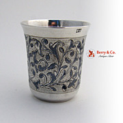 Russian Niello Vodka Cup 84 Silver 1867