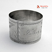 Antique Sterling Silver Napkin Ring Engraved Father