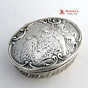Stork Fairies Snuff Box Hanau 800 Silver 1890