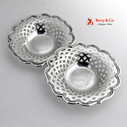 Candy Bowls 2 Cut Work Towle Sterling SIlver 1910 No Monograms