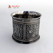 Vintage Japanesque Style Silver Plated Napkin Ring 1890