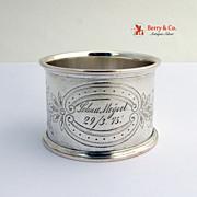 Vintage Coin Silver Napkin Ring Grape Vine Engraved 1890