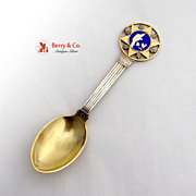 SALE PENDING Michelsen 1931 Souvenir Spoon Christmas Spoon Sterling Silver Enamel