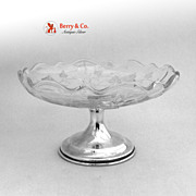 Hawkes Cut Etched Glass Compote Sterling Base 1940