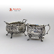 Repousse Floral Shell Scroll Creamer and Sugar Whiting 3338 Sterling Silver 1900