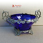 Antique Coin Silver Ornate Oak Center Bowl Cobalt Blue Liner