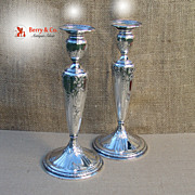 Maintenon Pair of Large Candlesticks Gorham Sterling Silver 1925