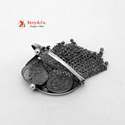 Vintage Coin Chain Purse 800 Silver