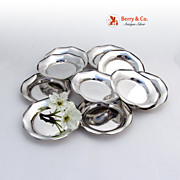 Set of 12 Butter Pads or Nut Cups Pie Crust Border 800 Silver