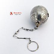 SOLD Antique Tea Ball Coin Silver Asian Motif