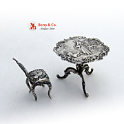 Antique Miniature Table and Chair Sterling Silver 1896