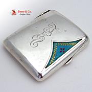 Cigarette Case Edwardian Style Guilloche Enamel Sterling Silver Germany 1920