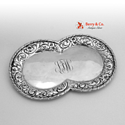 Infinity Shaped Tray Sterling Silver Knowles Repousse Border