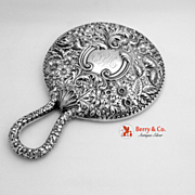 Hand Mirror Ornate Floral Repousse Sterling Silver Gorham 1896