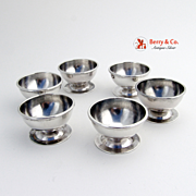 Open Salt Dishes 6 Mexican Sterling Silver 1960