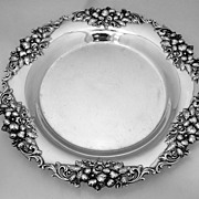 Cherry Blossom Round Plate Frank Smith 1890 Sterling Silver