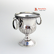 Miniature Urn Heart and Ball Rim Wedding Band Handles 950 Sterling Silver Japanese 1947