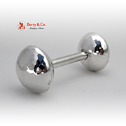 Barbell Baby Rattle Hand Made Hammered 900 Silver No Monogram