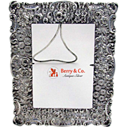 Ornate Floral Repousse Picture Frame Sterling Silver 1890