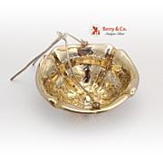 French Tea Strainer Basket Sterling Silver Gilt 1890 - 1910 No Monogram