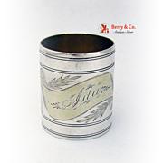 Coin Silver Napkin Ring Partial Gilt Decorations 1860