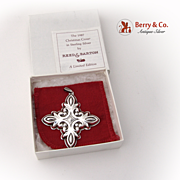 SALE Christmas Ornament Snowflake Cross Sterling Silver Reed and Barton 1987