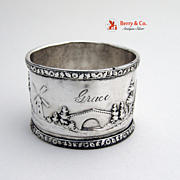 Country Scenery Napkin Ring Coin Silver 1870