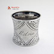 Napkin Ring Acid Etched Sterling Silver 1910