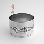 Napkin Ring Engraved Coin Silver 1870