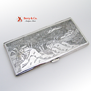 Landscapes Cigarette Case Japanese Sterling 950 early 20th century