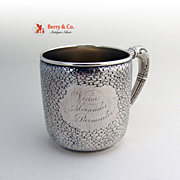 Hand Chased Cup Mug Wood and Hughes Sterling Silver Gilt 1880
