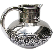 SOLD Large Pitcher Portuguese 833 Silver Repousse 1920