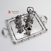 Miniature Coffee Tea Set  Hot Watter Kettle Tray Sterling Silver
