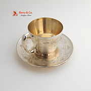 Cup and Saucer Sterling Silver Gorham Bright Cut 1890
