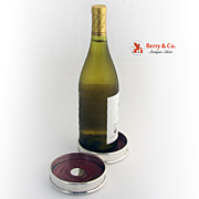 SOLD Wine Bottle Coasters Pair Sterling Silver 1950