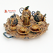 Miniature Tea Set Tray Cups Saucers Creamer Sugar Bowl Filigree Continental Sterling Silver Gi