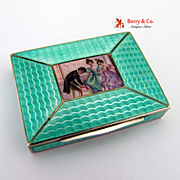 SOLD Small Box Court Scene Guilloche Enamel Hand Painted Austrian 800 Silver Gilt 1886 - 1922