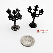 French Miniature Candelabra Pair Sterling Silver 1900