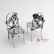 Miniature Chairs Sterling Silver Pair 1900