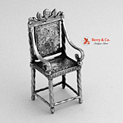Dutch Sterling Silver Angel Miniature Chair 1900