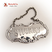 Sherry Bottle Tag Gorham Sterling Silver 1960