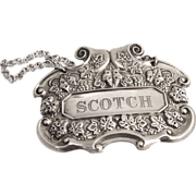 Scotch Bottle Tag 1950 Sterling Silver