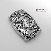 Art Nouveau Match Safe Lady`s Face 1915 Gorham Sterling Silver