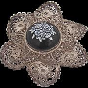 Floral Porcelain Center Brooch Filigree Sterling Silver